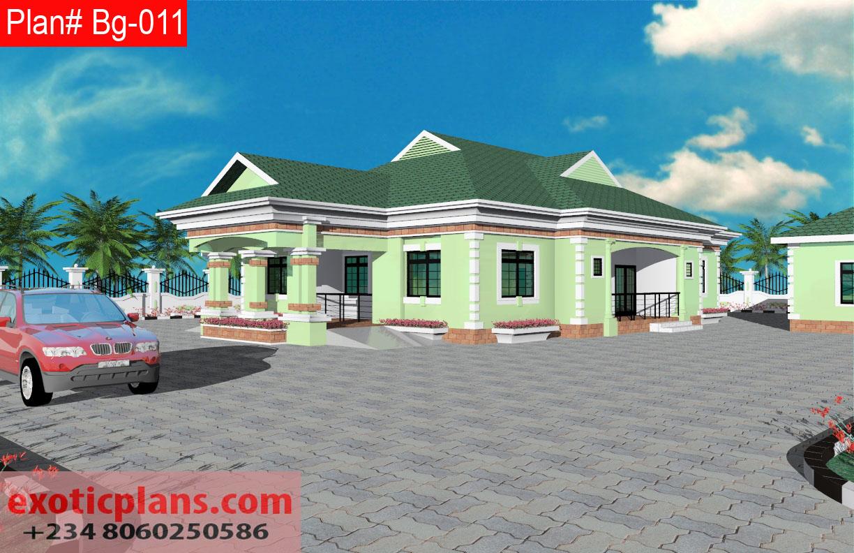4 Bedrooms Bungalow Plan Designs